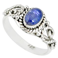 1.47cts natural blue tanzanite 925 silver solitaire handmade ring size 7 r82221