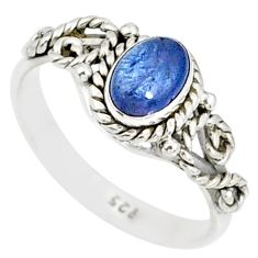 1.54cts natural blue tanzanite 925 silver solitaire handmade ring size 7 r82222