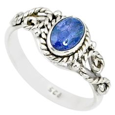 1.54cts natural blue tanzanite 925 silver solitaire handmade ring size 7 r82228