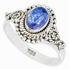 1.51cts natural blue tanzanite 925 silver solitaire handmade ring size 7 r82235