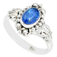 1.42cts natural blue tanzanite 925 silver solitaire handmade ring size 7 r82236