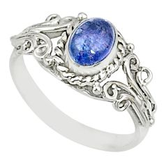 1.51cts natural blue tanzanite 925 silver solitaire ring jewelry size 7 r82452