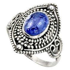 3.14cts natural blue tanzanite 925 silver solitaire ring jewelry size 8 d46530