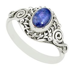 1.39cts natural blue tanzanite 925 silver solitaire ring jewelry size 8 r82479