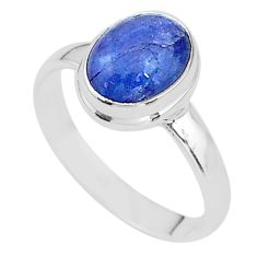4.13cts natural blue tanzanite 925 silver solitaire ring jewelry size 8 t13009