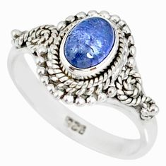 1.55cts natural blue tanzanite 925 silver solitaire handmade ring size 9 r82227