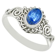 1.57cts natural blue tanzanite 925 silver solitaire ring jewelry size 9 r82480