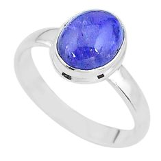 4.37cts natural blue tanzanite 925 silver solitaire ring jewelry size 9 t13013