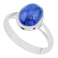 4.10cts natural blue tanzanite 925 silver solitaire ring jewelry size 8.5 t13001