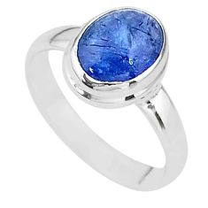 4.16cts natural blue tanzanite 925 silver solitaire ring jewelry size 7.5 t13006