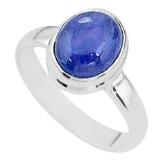 3.86cts natural blue tanzanite 925 silver solitaire ring jewelry size 7.5 t13011