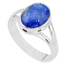 4.07cts natural blue tanzanite 925 silver solitaire ring jewelry size 7.5 t13012