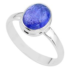 4.25cts natural blue tanzanite 925 silver solitaire ring jewelry size 9.5 t13015