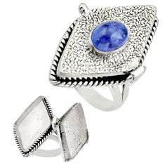 2.08cts natural blue tanzanite 925 sterling silver poison box ring size 9 r26647