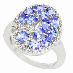 4.21cts natural blue tanzanite 925 sterling silver ring jewelry size 7.5 c20600