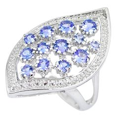 Natural blue tanzanite 925 sterling silver ring jewelry size 7.5 c20602
