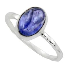 3.05cts natural blue tanzanite 925 sterling silver ring jewelry size 9.5 r44580