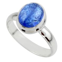 3.94cts natural blue tanzanite 925 sterling silver ring jewelry size 7.5 r46633