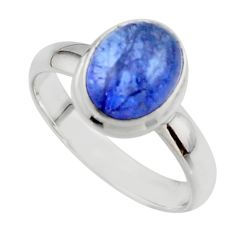 4.08cts natural blue tanzanite 925 sterling silver ring jewelry size 7.5 r46638