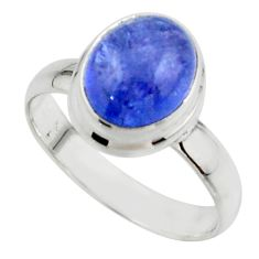 3.95cts natural blue tanzanite 925 sterling silver ring jewelry size 6.5 r46640