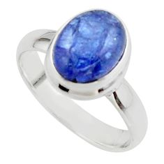 4.05cts natural blue tanzanite 925 sterling silver ring jewelry size 6.5 r46644