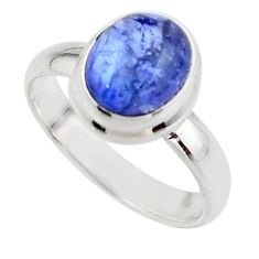 3.20cts natural blue tanzanite 925 sterling silver ring jewelry size 6.5 r46655
