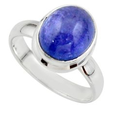 4.18cts natural blue tanzanite 925 sterling silver ring jewelry size 6.5 r46656