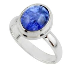 4.06cts natural blue tanzanite 925 sterling silver ring jewelry size 6 r46628