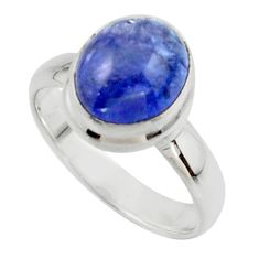 4.09cts natural blue tanzanite 925 sterling silver ring jewelry size 6 r46636