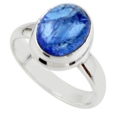 4.15cts natural blue tanzanite 925 sterling silver ring jewelry size 6 r46648