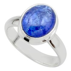 4.21cts natural blue tanzanite 925 sterling silver ring jewelry size 6 r46649
