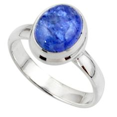 4.09cts natural blue tanzanite 925 sterling silver ring jewelry size 7 r46630