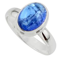 4.26cts natural blue tanzanite 925 sterling silver ring jewelry size 7 r46659