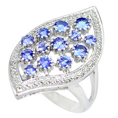 Natural blue tanzanite 925 sterling silver ring jewelry size 8 c20610