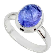 4.10cts natural blue tanzanite 925 sterling silver ring jewelry size 8 r46623