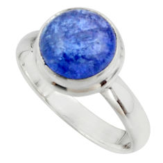 4.69cts natural blue tanzanite 925 sterling silver ring jewelry size 8 r46637