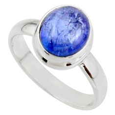 4.08cts natural blue tanzanite 925 sterling silver ring jewelry size 8 r46641