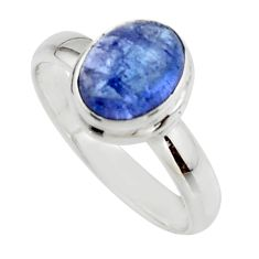 3.37cts natural blue tanzanite 925 sterling silver ring jewelry size 8 r46652