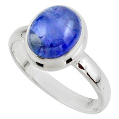 4.13cts natural blue tanzanite 925 sterling silver ring jewelry size 9 r46622