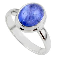 4.11cts natural blue tanzanite 925 sterling silver ring jewelry size 9 r46629