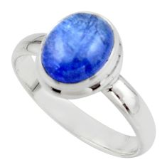 4.21cts natural blue tanzanite 925 sterling silver ring jewelry size 9 r46639