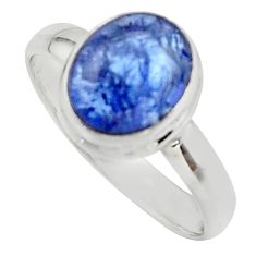 4.08cts natural blue tanzanite 925 sterling silver ring jewelry size 9 r46647