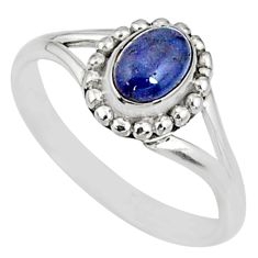 1.54cts natural blue tanzanite 925 sterling silver solitaire ring size 9 r82172