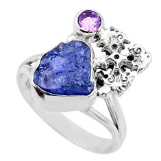 8.03cts natural blue tanzanite raw 925 silver holy cross ring size 9.5 r66996