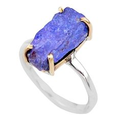 4.89cts natural blue tanzanite raw 925 silver 14k gold ring size 6 t47102
