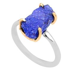 5.54cts natural blue tanzanite raw 925 silver 14k gold ring size 6 t47126