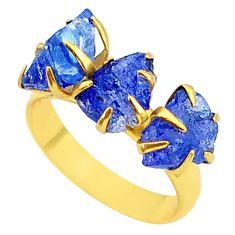 8.26cts natural blue tanzanite raw 14k gold handmade ring size 7 t35007
