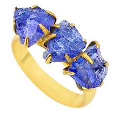 9.38cts natural blue tanzanite raw 14k gold handmade ring size 8 t34956