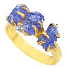 9.31cts natural blue tanzanite raw 14k gold handmade ring size 8.5 t34954