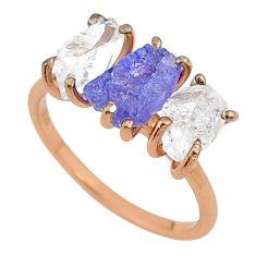 5.92cts natural blue tanzanite raw 14k rose gold handmade ring size 7 t14006